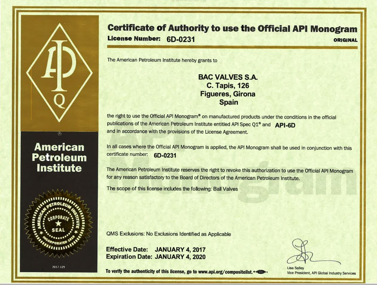 Certificat API Spec Q1 and API Spec 6DAmerican Petroleum Institute