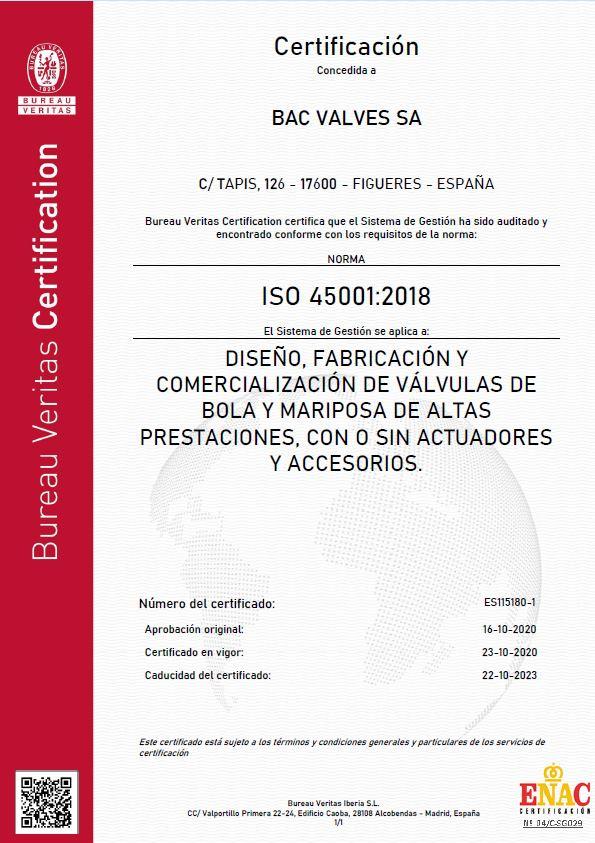 Certificate OHSAS 18001Bureau Veritas Quality International