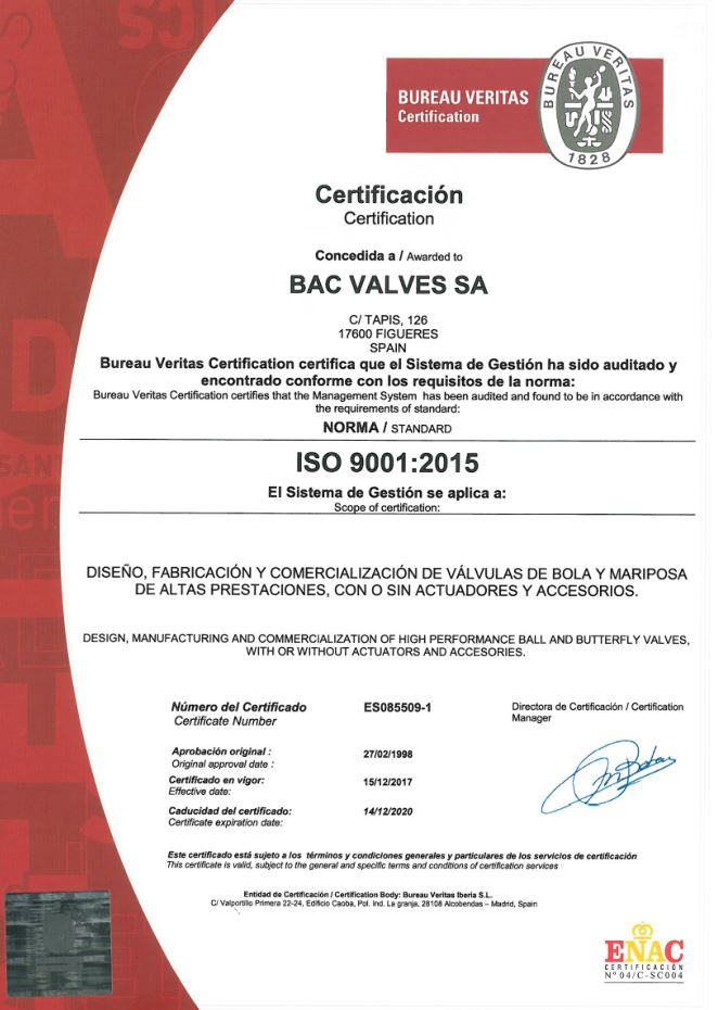 Certificat ISO 9001Bureau Veritas Quality International