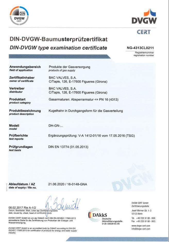 Type Examination CertificateDIN- DVGW