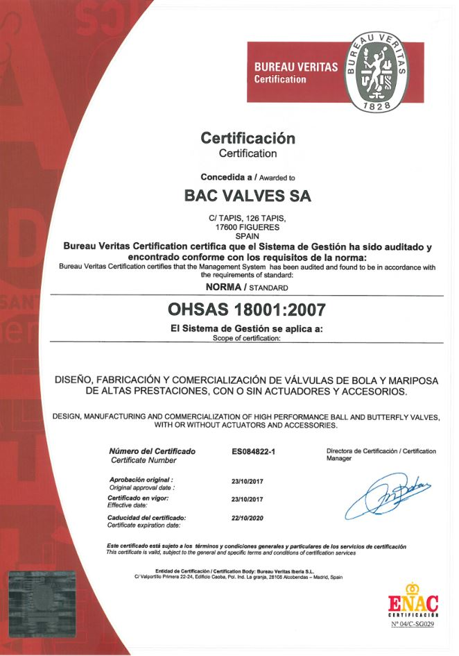 Certificat OHSAS 18001Bureau Veritas Quality International
