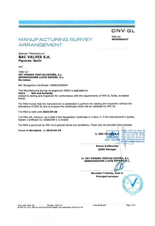 Certificado MSADet Norske Veritas