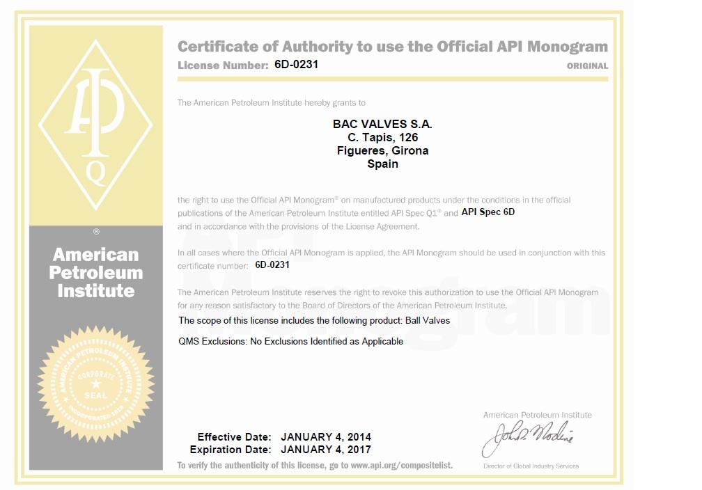 Licencia Monogramado API Spec 6DAmerican Petroleum Institute