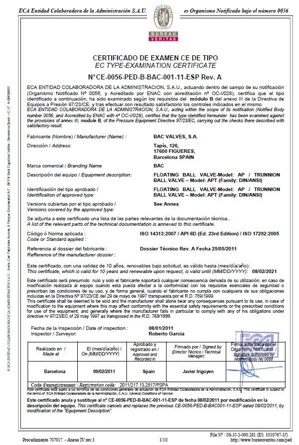 Certificado CE-PEDBureau Veritas