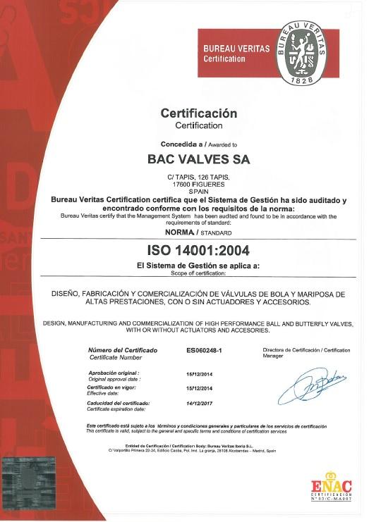 Certificado ISO 14001Bureau Veritas Quality International