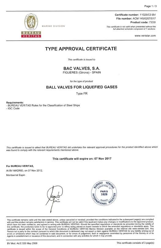 Certificat Aprovacions TipusBureau Veritas