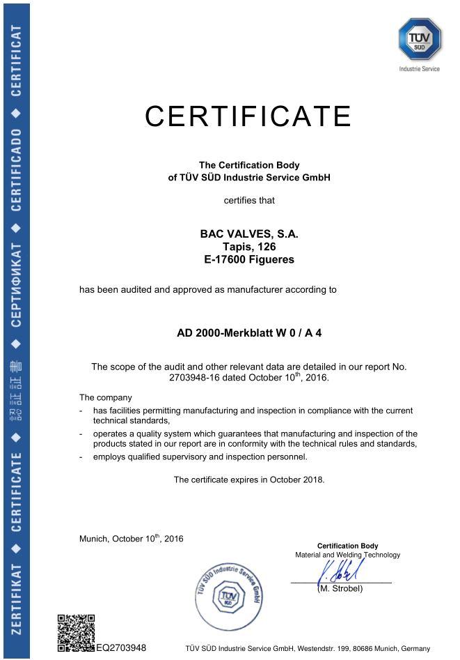 Certificado AD 2000-Merkblatt WO / A4  TÜV SÜD Industrie Service GmbH