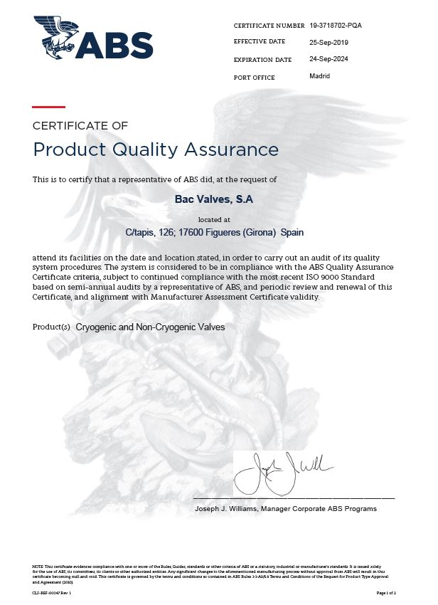 Certificado PQA ABS