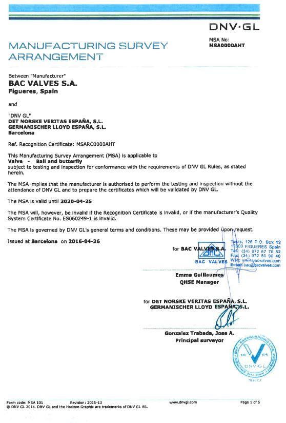 Certificat MSA Det Norske Veritas