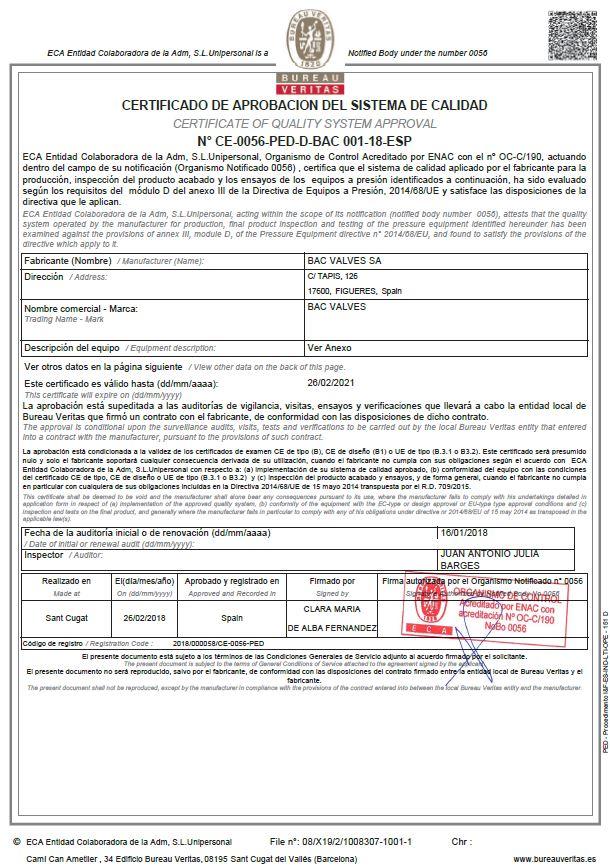 Certificat CE-PEDBureau Veritas