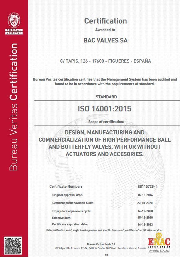 Certificate ISO 14001Bureau Veritas Quality International