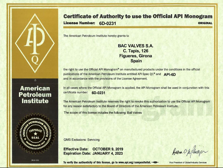 API Spec 6D Monogram LicenseAmerican Petroleum Institute