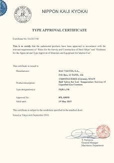 Certificado Aprobaciones Tipo,Válvula de BolaNippon Kaiji Kyokay (NKK)