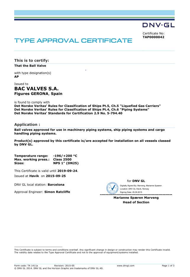Certificado Aprobaciones Tipo, Válvula de Bola Det Norske Veritas